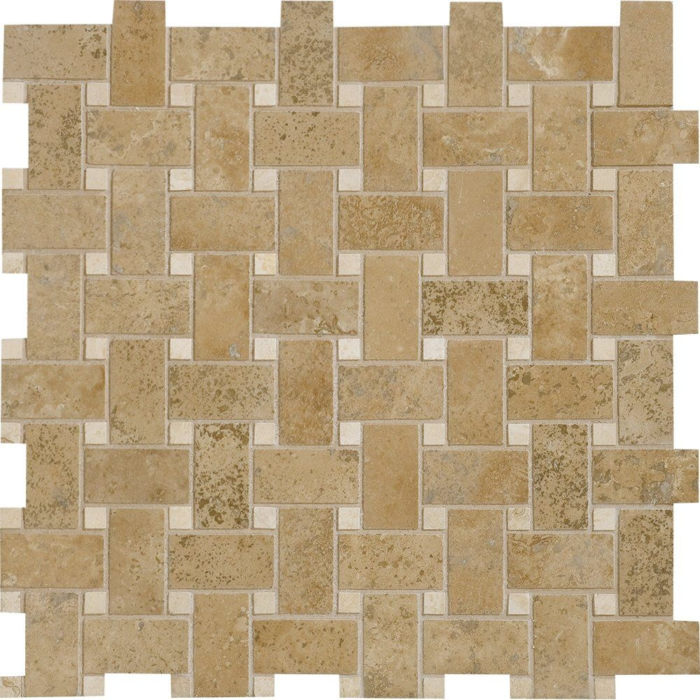 Brown Noce Honed Amp Filled 12x12 Basket Weave Travertine Mosaic
