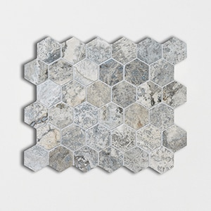 Silver Travertine Honed&filled 10 3/8x12 Hexagon