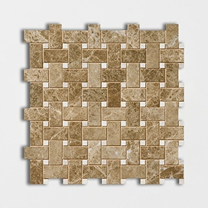 Emperador Light Polished 12x12 Basket Weave