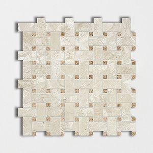 Royal Beige&emperador Light Polished 12x12 Basket Weave