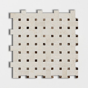 Crema Marfil Polished 12x12 Basket Weave