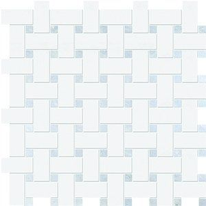 Thassos White&blue Celeste Polished 12x12 Basket Weave