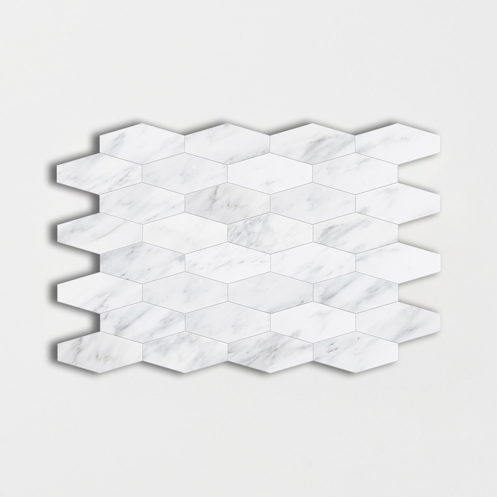 Bella White Polished 10x12 1/4 Elongated Hexagon
