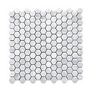 White Carrara Standard Honed 12x12 Hexagon 1x1