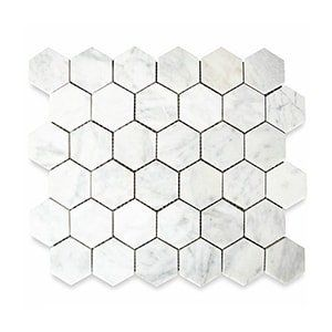 White Carrara Standard Honed 10 3/8x12 Hexagon 2x2