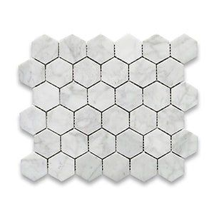 White Carrara Standard Polished 10 3/8x12 Hexagon 2x2
