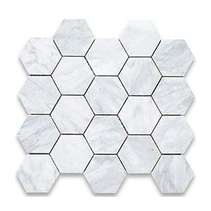 White Carrara Standard Honed 10 3/8x12 Hexagon 3x3
