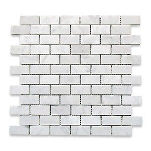 White Carrara Standard Polished 12x12 Midi Brick 1x2