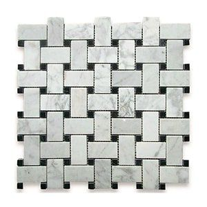 White Carrara Standard Polished 12x12 Basket Weave