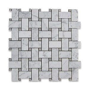 White Carrara Standard Honed 12x12 Basket Weave