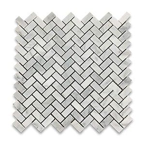 White Carrara Standard Honed 12x12 Herringbone 5/8x1 1/4