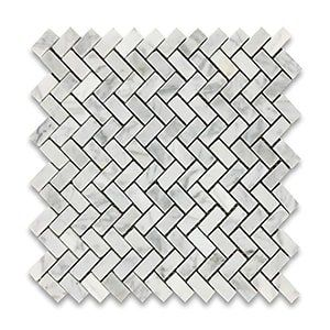 White Carrara Standard Polished 12x12 Herringbone 5/8x1 1/4