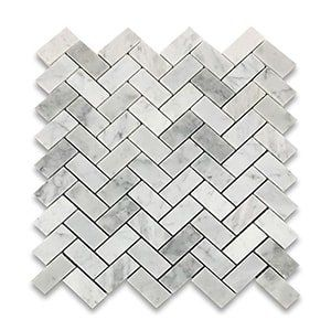 White Carrara Standard Polished 12x12 Herringbone 1x2