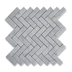 White Carrara Standard Honed 12x12 Herringbone 1x3
