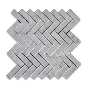 White Carrara Standard Polished 12x12 Herringbone 1x3