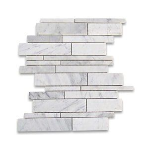 White Carrara Standard Honed 12x12 Random Strip
