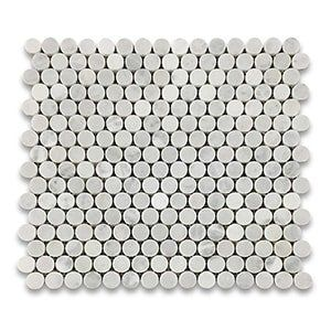 White Carrara Standard Honed 12x12 Penny Round