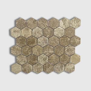 Emperador Light Standard Polished 10 3/8x12 Hexagon 2x2