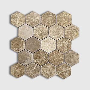 Emperador Light Standard Polished 10 3/8x12 Hexagon 3x3