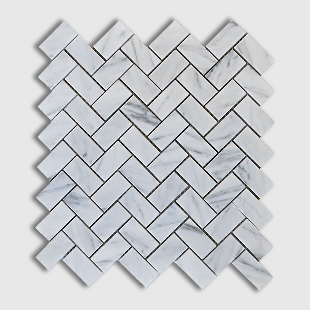 Italian Carrara Polished 12x12 Herringbone