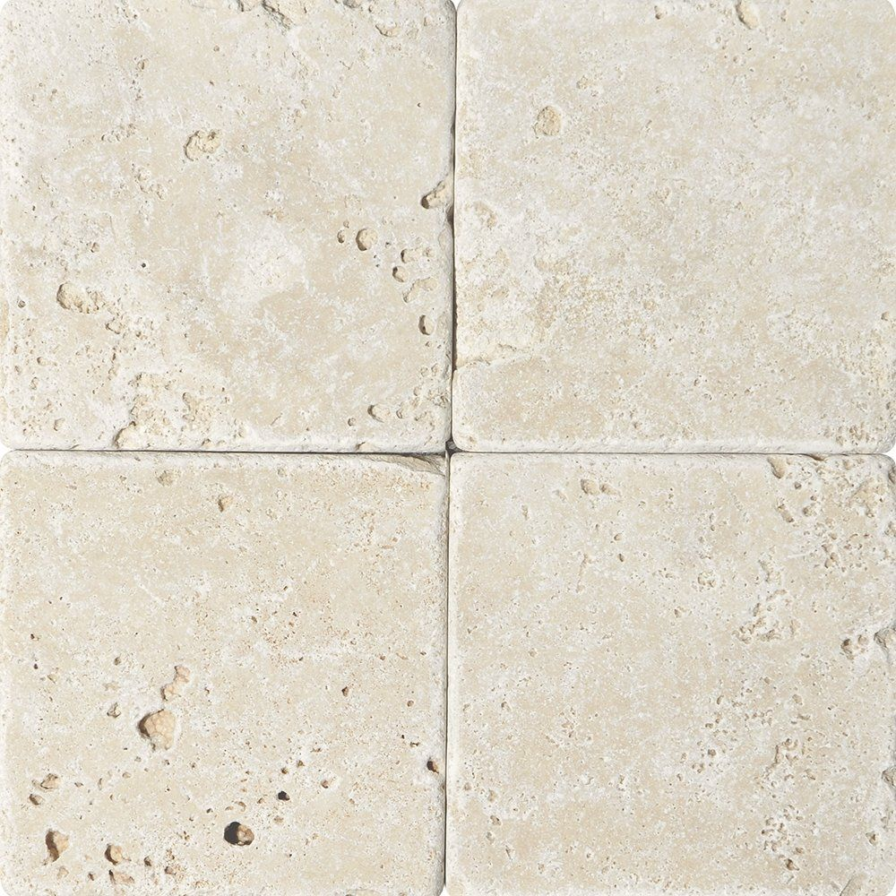 In Stock Travertine Tile Chiaro Tumbled 6x6 In Beige Color
