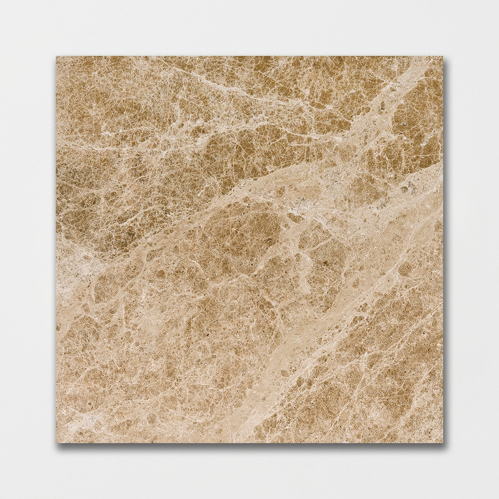 Emperador Light Polished 18x18 Brown Marble Tile