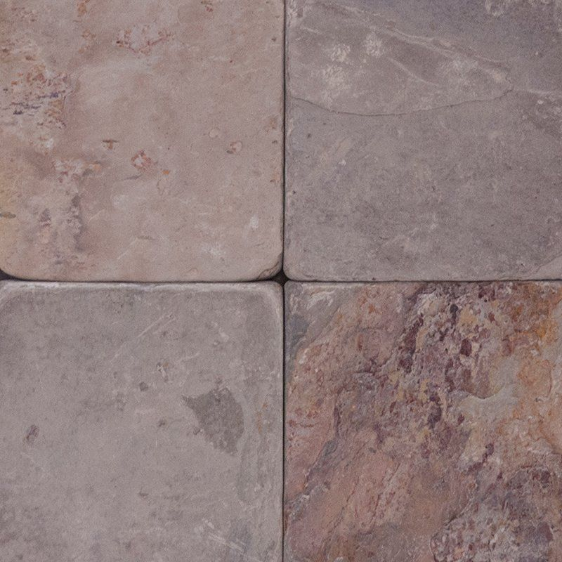 Indian Autumn Tumbled 4x4 Slate Tiles Stone Tile Depot