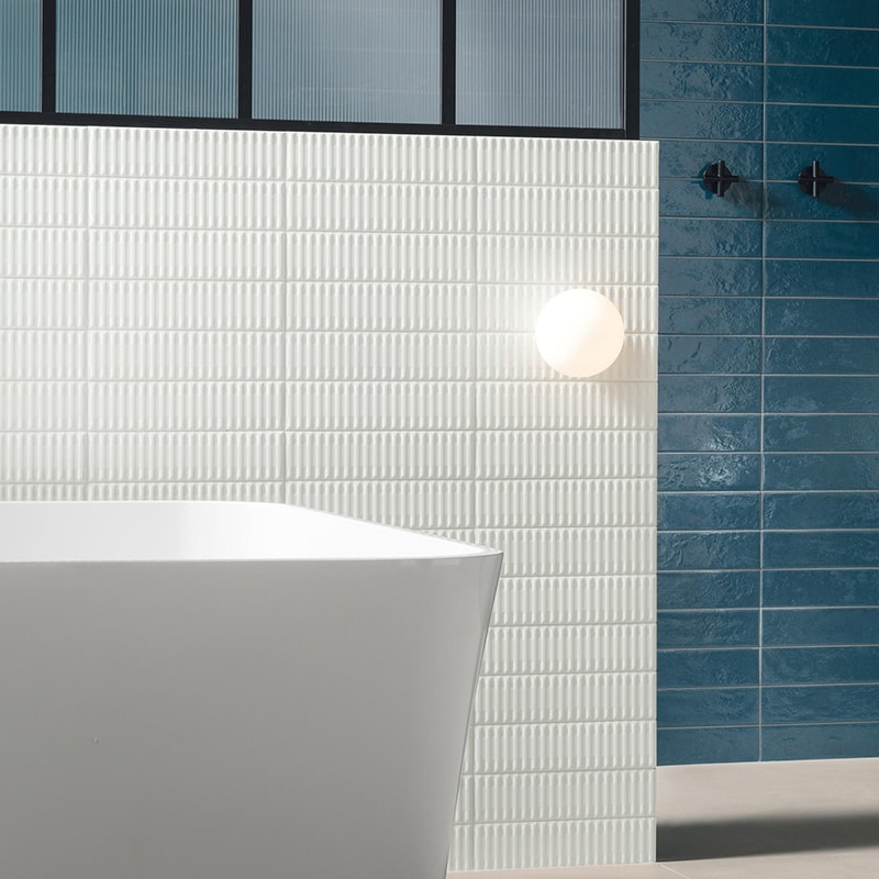 PALOS BIANCO EMBOSSED PORCELAIN WALL DECOS (WMN10013) AZUL GLOSSY PORCELAIN TILES (WMN10010)