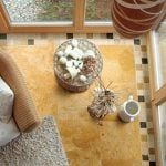 travertine tiles in living room